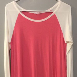 Pink and White Baseball Tee